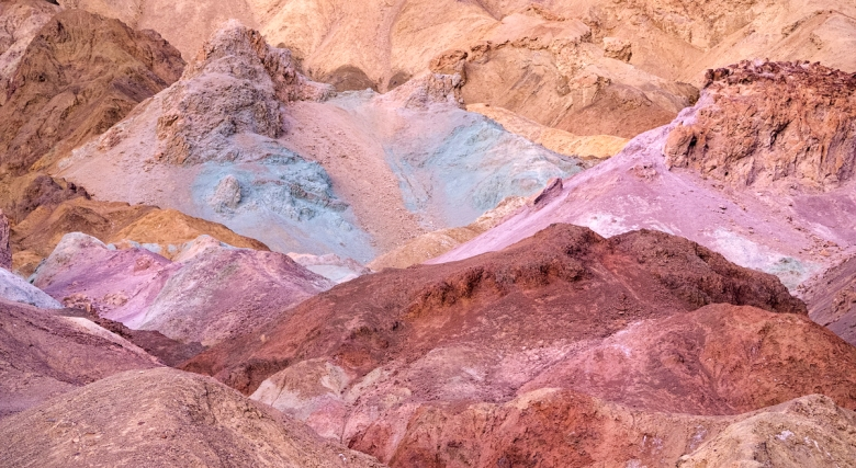 The vivid colours of Artists Palette in Death Valley in the late evening sun. If you want to reproduce colours like these in print you will need to do some soft profile to ensure the image looks right. If you don't, it's going to be very hit and miss.