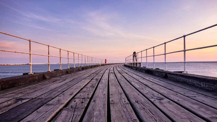 Whitby Pier at Sunrise. Captured on a Sony RX100.