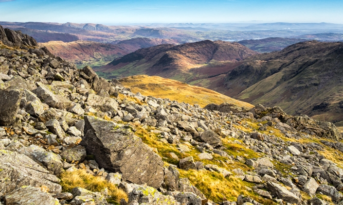 View whilst ascending Bowfell, The Lake District.