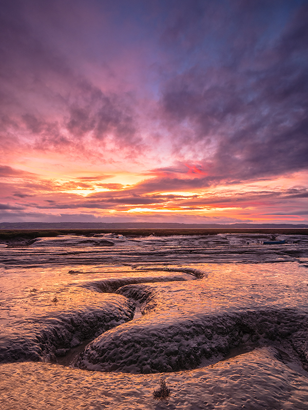 Sunset on the mud flats. ND Graduated filters are a must for shots such as this.