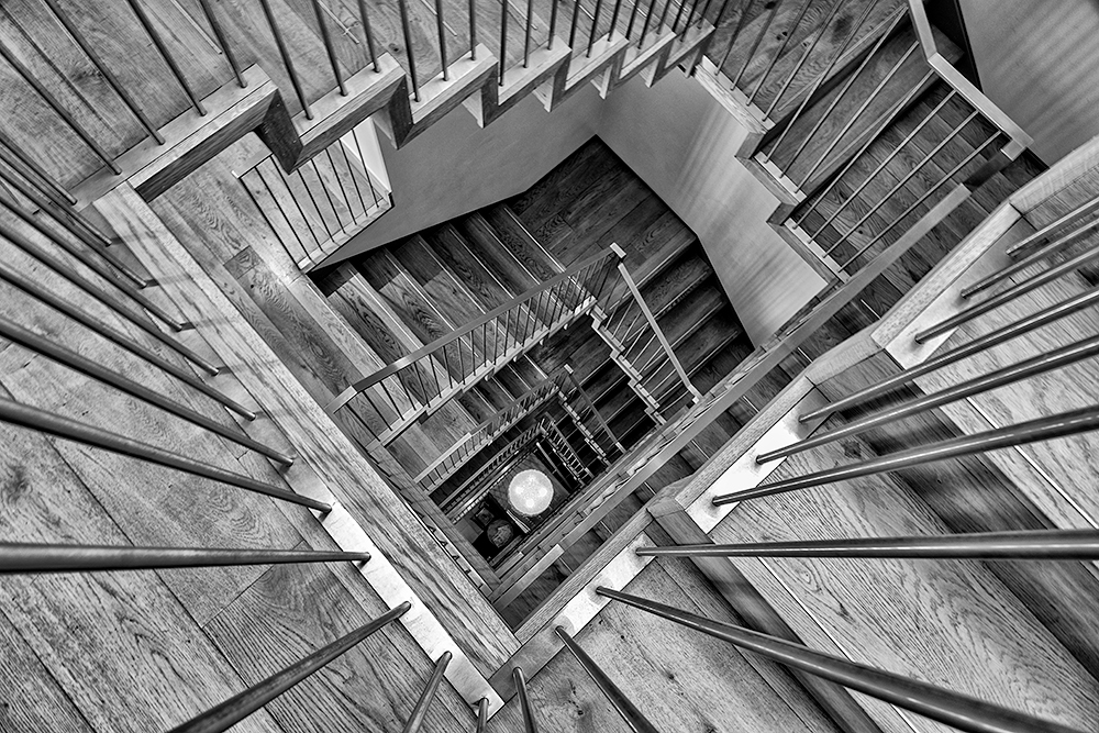 Hotel stairs. Sony RX10. Converted to B&W in Nik Silver Efex Pro.