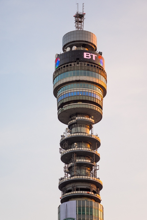 The BT Tower at sunset. Captured on a Sony RX10.