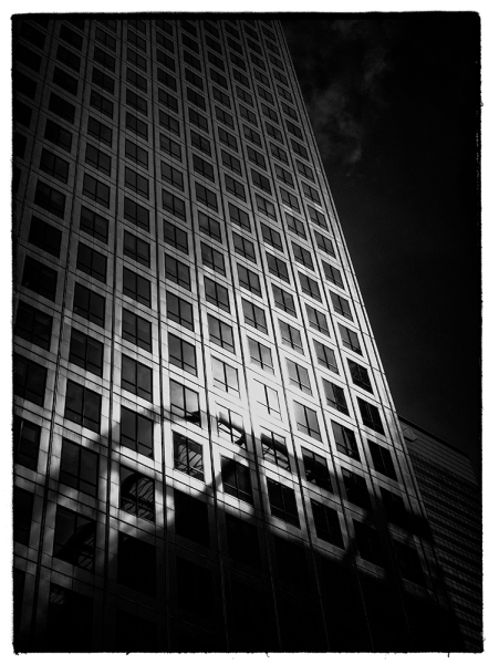 Canary Wharf in London's Docklands. Panasonic Lumix GM1 with 12-32mm lens. Post processing in Nik SIlver Efex Pro and Nik Analog Efex.