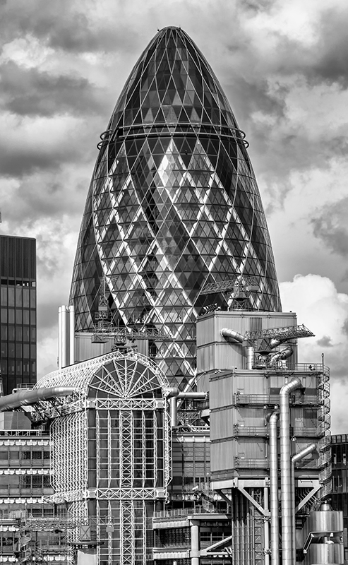 The Gherkin, London. Olympus EM5 with Panasonic 45-150mm lens.