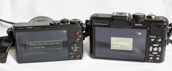 GM1 and LX7 side by side. GM1 is on the left