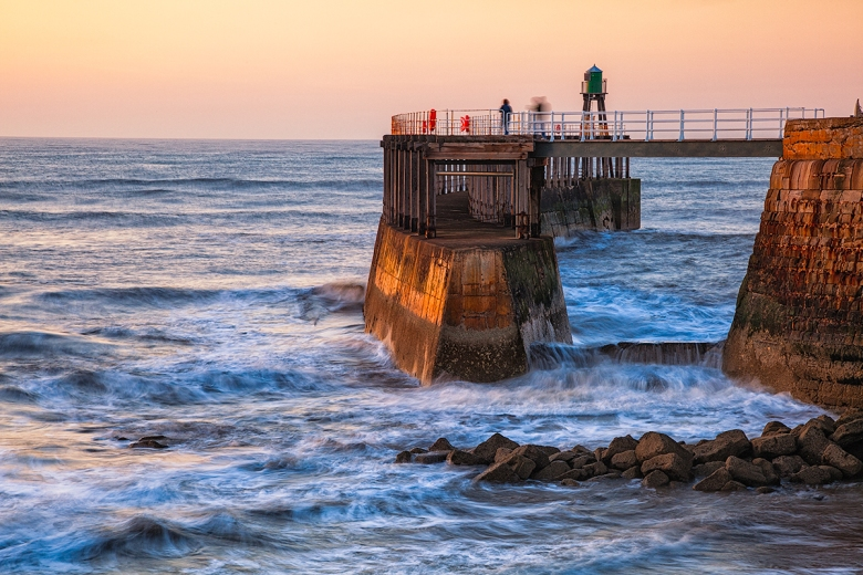 Whitby Pier at sunset. Canon 5D MKII, 24-105mm Lens.