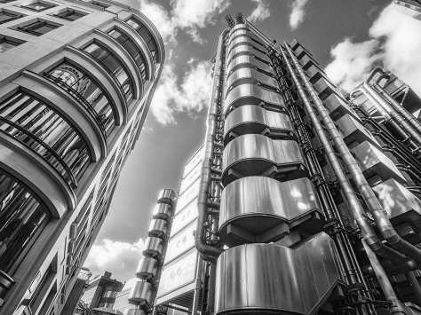 Lloyds Building, London, Captured on an Olympus OMD EM5 with Olympus 9-18mm lens. Conversion to black and white using Alien Skin Exposure 6.