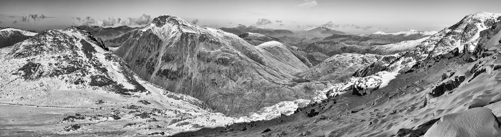 Panazonic GX1. 5 Image Panoramic from Scarfell looking to Great Gable.