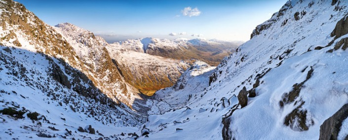 Descent from Scafell, The Lake District. Three image stich from a Panasonic GX1, 14-45mm lens at 14mm, ISO160, f/7.1