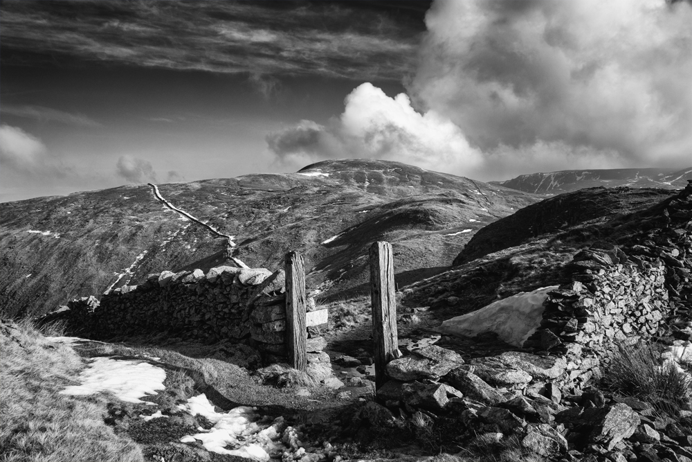 """Sony RX10 in the Lake District. F5.6, ISO80, 1/200"""". Monochrome conversion in Nik Silver Efex"""