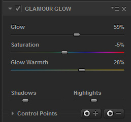 Filter settings in Color Efex