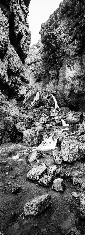 Gordale Scar, Yorkshire. Xpan 30mm with Kodak TMax400