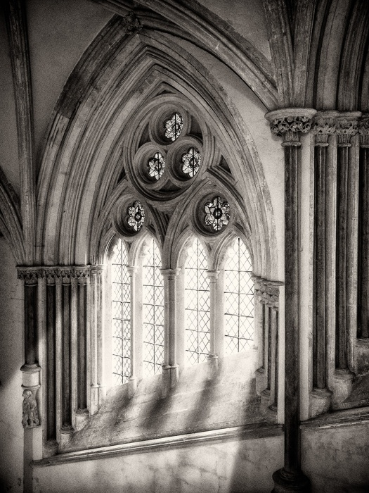 "Wells Cathedral, Olympus EM5, ISO800, f/5.6, 1/20"". Processed in Photoshop with Nik Silver Efex Pro. The window light is totally false."