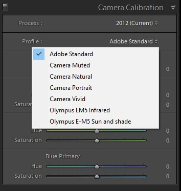 Lightroom Camera Calibrationm Panel in the Develop Module