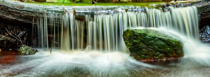Woodland stream near to Whitby. Three image stitch from a Canon 5D MKII.