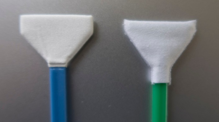 New swab on the left and one of the old green swabs on the right.