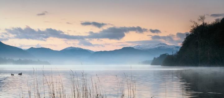 Looking across a calm Ullswater at dawn. Olympus EM5.