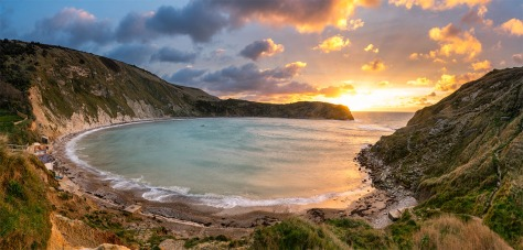 """Lulworth Cove, Dorset. Three image stich with a Sony A7r. Canon 16-35mm lens at 20mm. 1"""" exposure using f/14.0 and ISO50."""