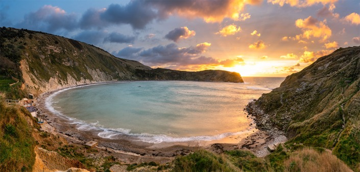 "Lulworth Cove, Dorset. Three image stich with a Sony A7r. Canon 16-35mm lens at 20mm. 1"" exposure using f/14.0 and ISO50."