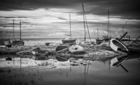 "Boat study at Heswall Marina. Panasonic GX1 converted to Infrared. ISO160, 45mm lens, 1/50"" at f/10."