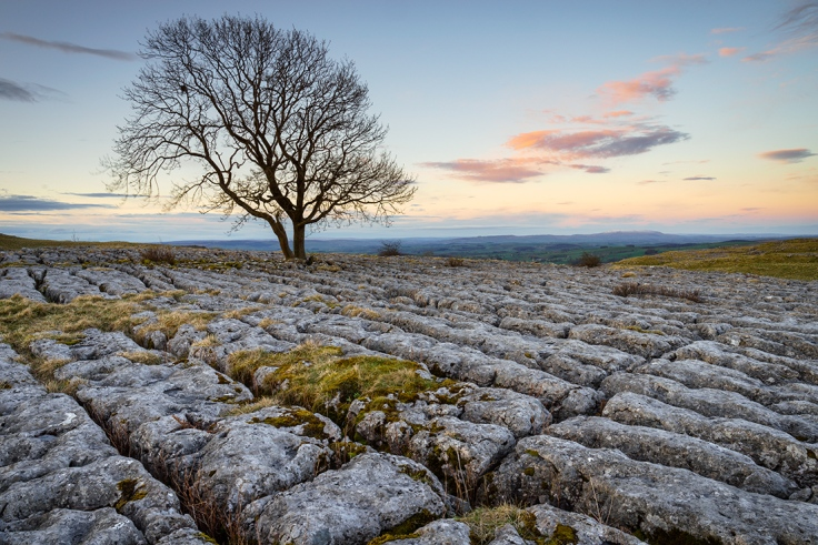 """Limestone above Malham just after sunrise. Sony A7r + Canon 24-70 lens. Set to 24mm, ISO100, F/16.0, shutter speed 0.4""""."""