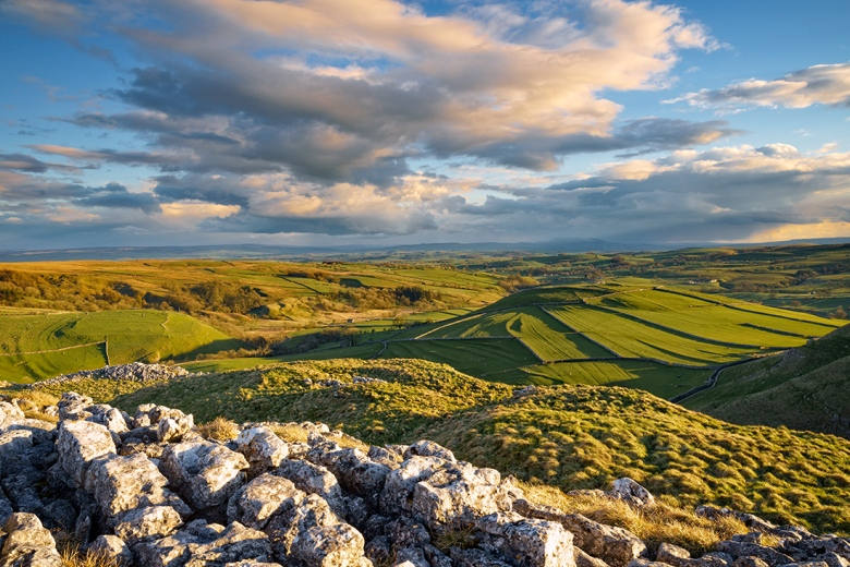 """Sunset view in the Yorkshire Dales from above Malham. Sony A7r + Canon 24-70 lens at 24mm. ISO 100, f/16.0, 1/15"""" shutter. Tripod mounted with a 0.3 ND graduated filter on the sky."""