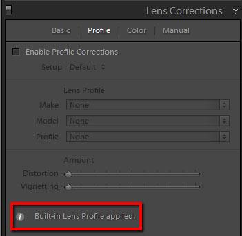 Lens profile in Lightroom