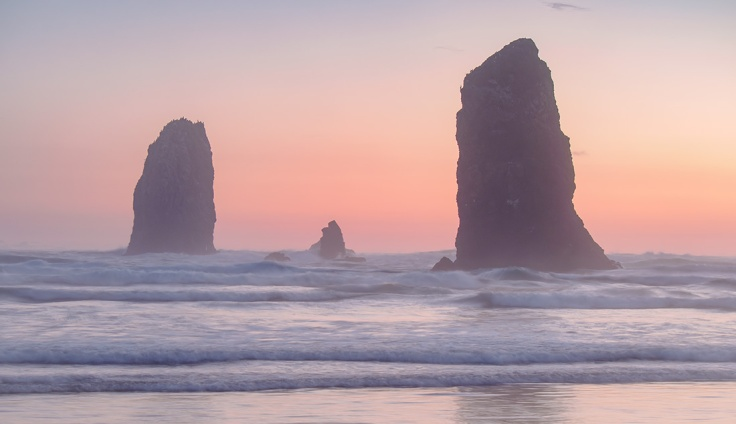 """Cannon Beach, Oregon. Olympus EM5, 45mm, 0.4"""" at f/7.1 and ISO200"""