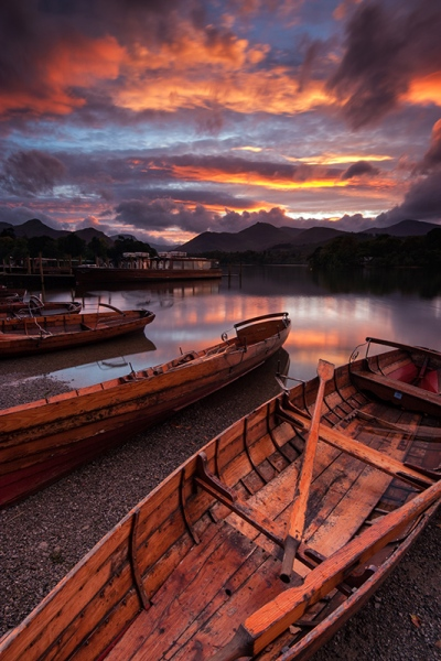 Boats moored on the banks of Derwent Water at sunset, Keswick. Canon EOS300 + Sigma 10-20mm lens.