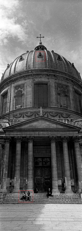XPan image in Paris. Handheld using Ilford Delta 100.