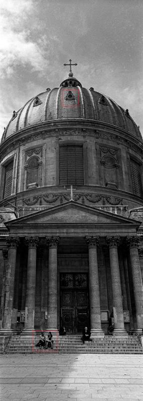 XPan image in Paris. Handheld using Ilford Delta 100.