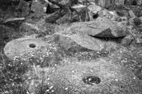 Stones at Padley Gorge. B&W conversion.