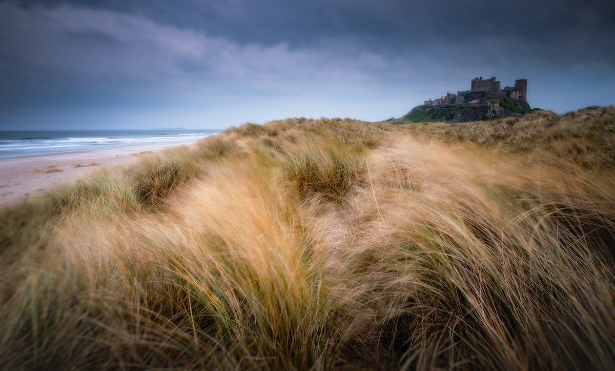 """Bamburgh sunset. Fuji XT2 + 16-55 lens. 0.6 ND Grad and Polarising filter for extended exposure. f/10.0, 2"""" at ISO400"""