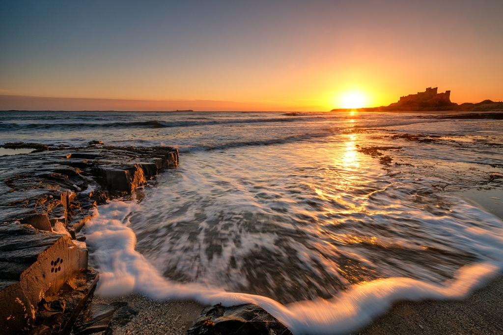 """Bamburgh sunrise. Fuji XT2, Fujinon 10-24mm at 12mm, 1/7"""" at f/13."""
