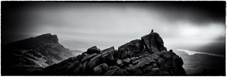 The Roaches in the The Peak District. Three images with the Fuji X-T2 merged in Lightroom to a panorama. Post processing in Nik Silver Efex Pro.
