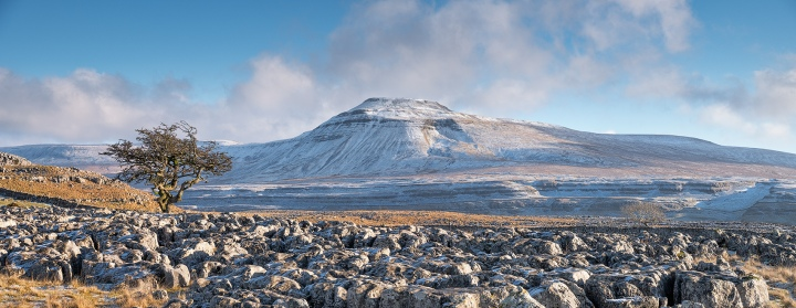 Ingleborough from Twistleton Scar in the Yorkshire Dales.
