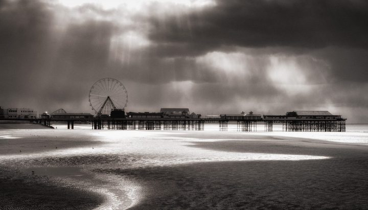 Blackpool pier and beach