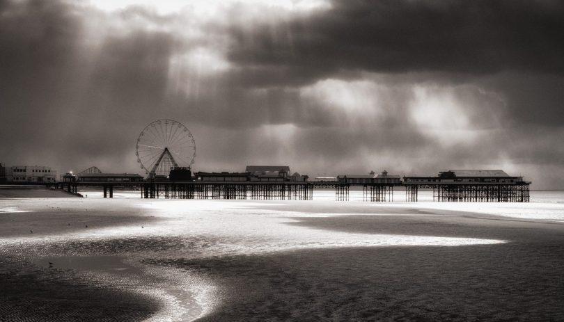 Blackpool pier and beach