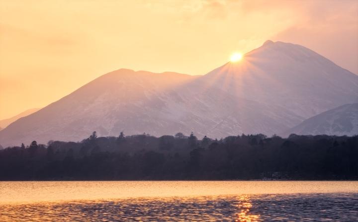 Derwentwater at sunset, The Lake District, UK.