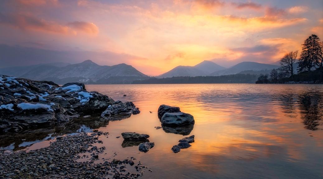 Derwentwater sunset, Keswick, The Lake District.