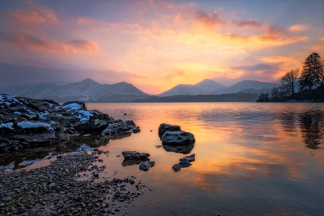 Derwentwater sunset, Keswick, The Lake District.