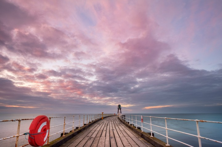 Whitby Pier at Sunset. v