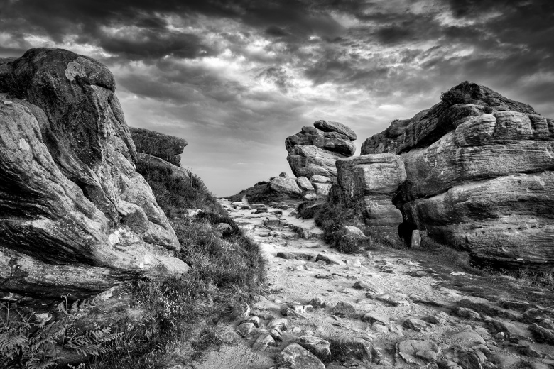 Froggatt Edge rocks in the Peak District.