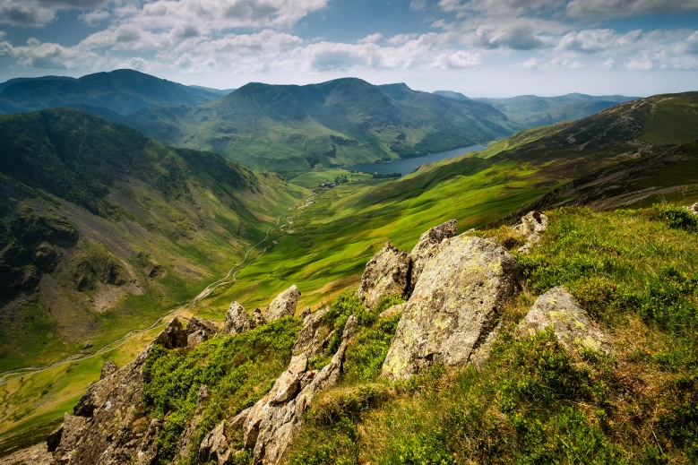 View from Dale Head looking towards Buttermere in the Lake District, Cumbria.