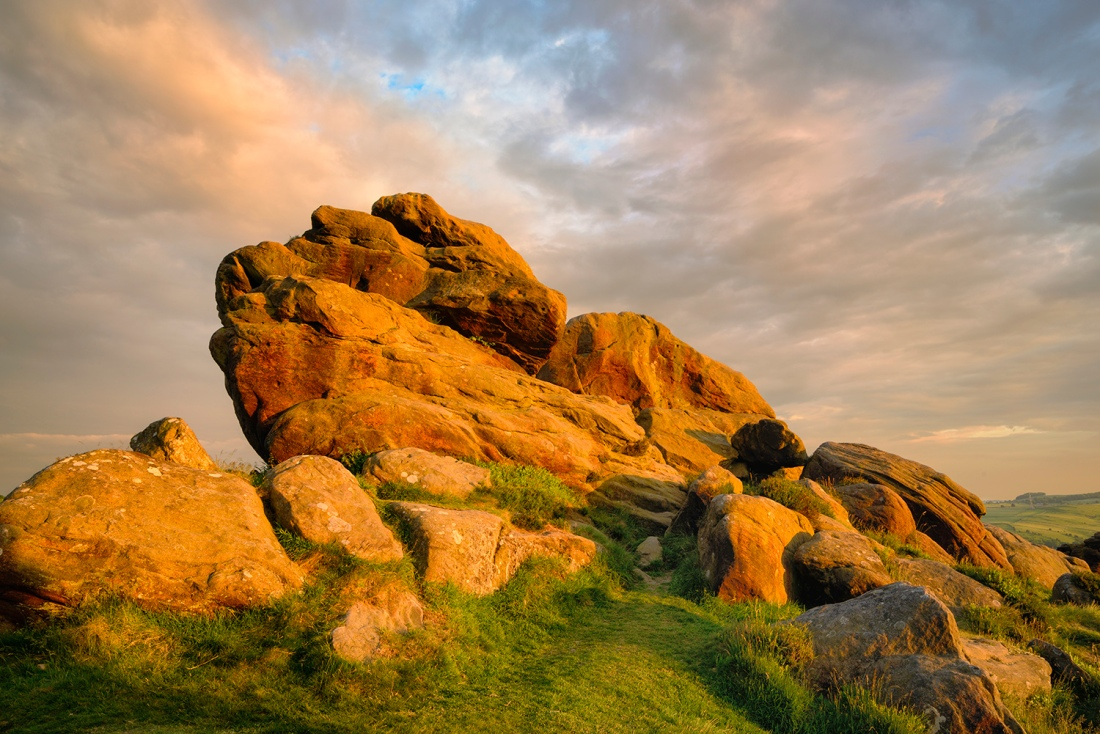 Rocks on Froggatt Edge at sunset