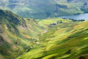 View down to Honister Pass from Dale Head, Lake District.