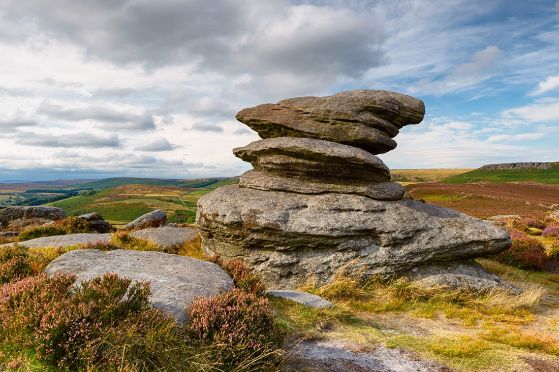 The Peak District rocks and heather