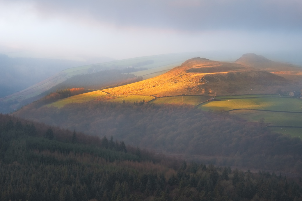 View from Bamford Edge at Sunset, Peak District National Park