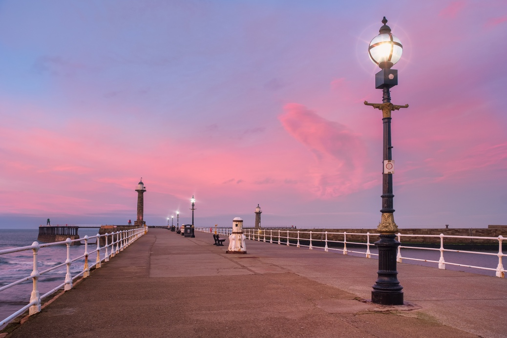 Dramatic Whiby Pier sunset