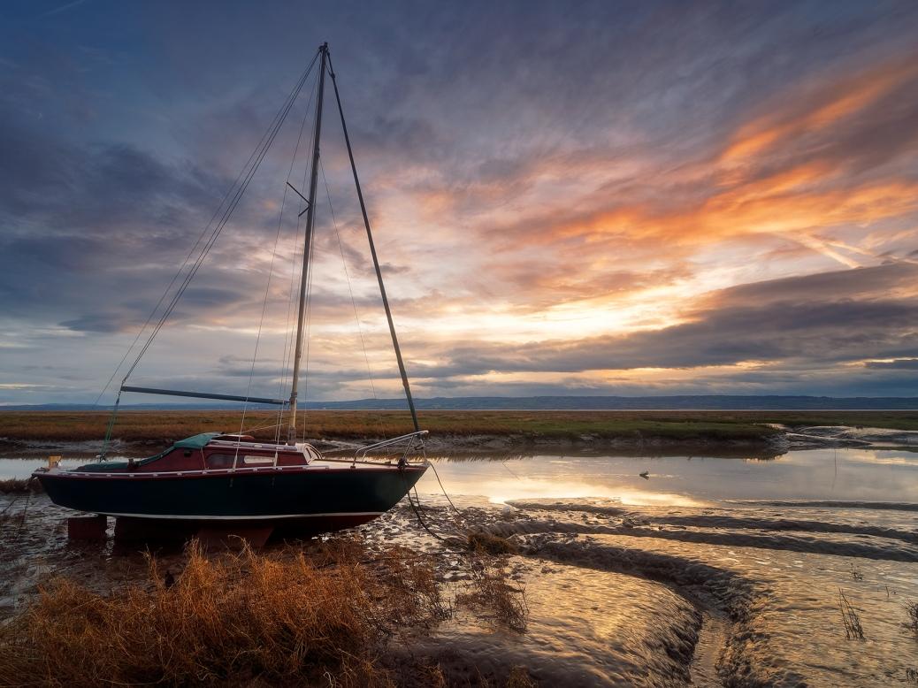 Heswall marina at sunset